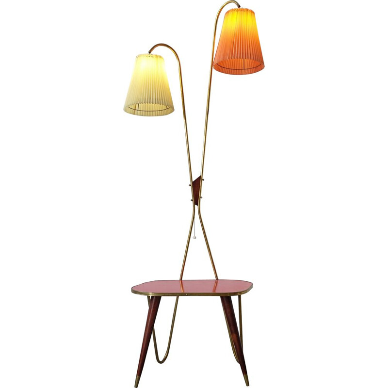 Vintage Floor Lamp and Side Table, 1950s