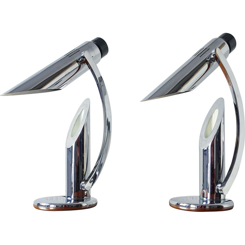 Set of 2 chrome Tharsis Foldable Chrome Table Lamps by Luis Pérez de la Oliva for Fase,1973