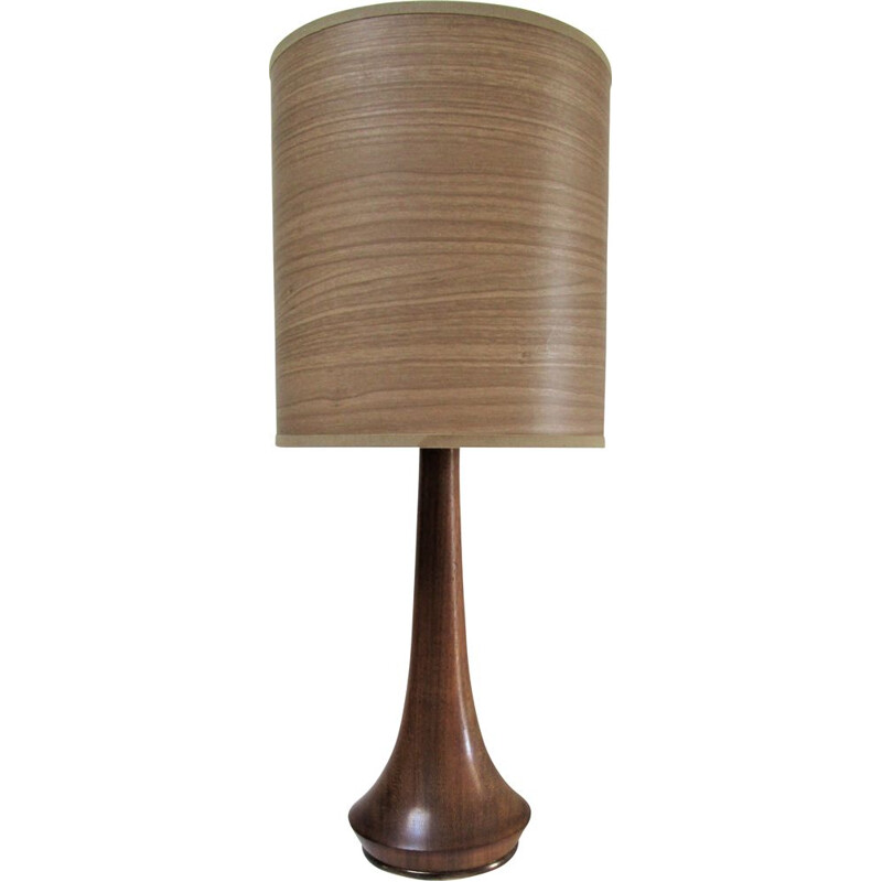 Rosewood and brass vintage table lamp 60's