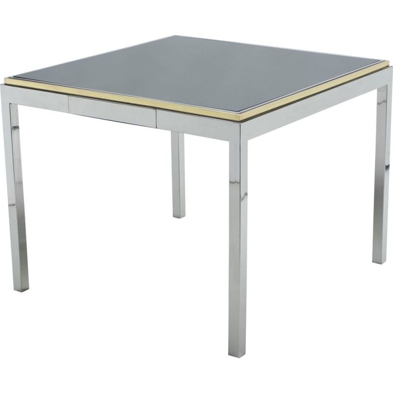 Chrome brass lacquered game table 1970