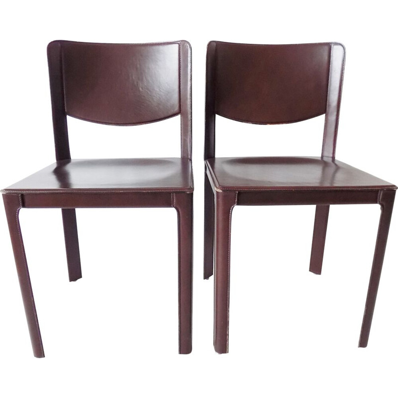 Set of 2 saddle leather dining chairs by Tito Agnoli Matteo Grassi