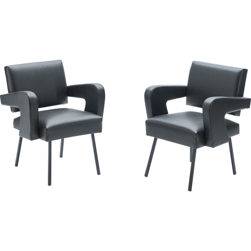 Pair of vintage armchairs Président Rare by Jacques Adnet 1959