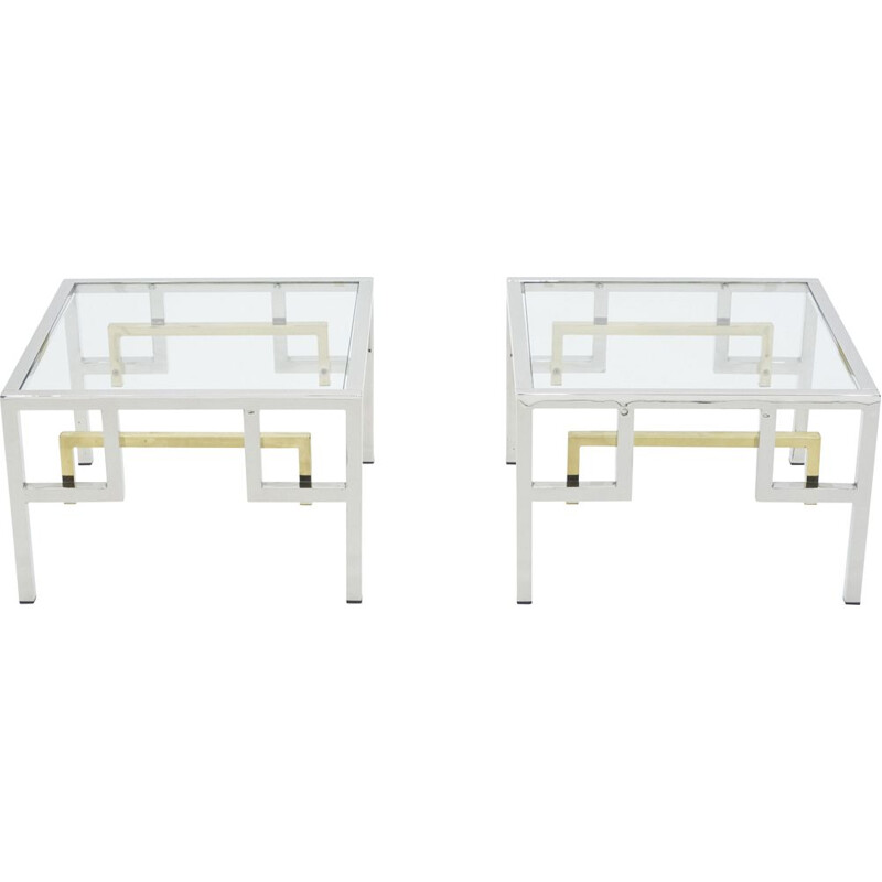 Pair of Guy Lefevre chrome brass sofa ends Maison Jansen 1970