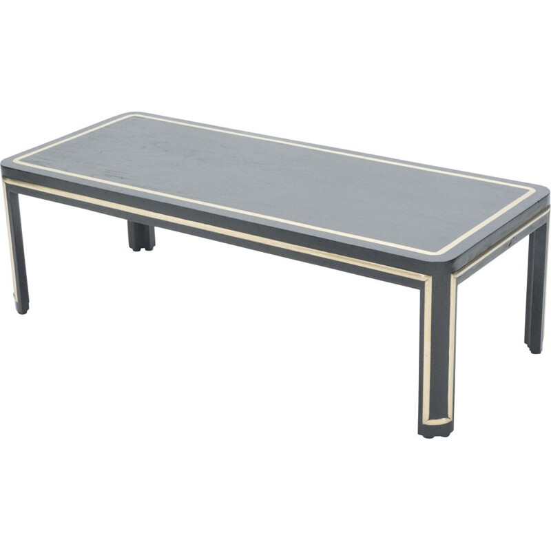 Art deco vintage coffee table black painted wood and brass 1940