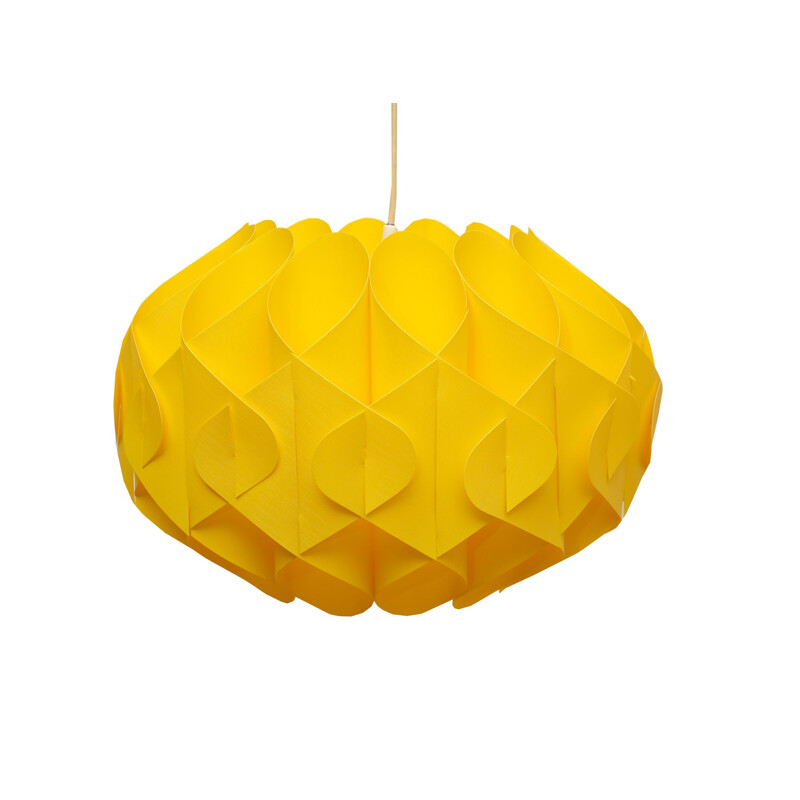 Vintage yellow plastic hanging lamp 1970