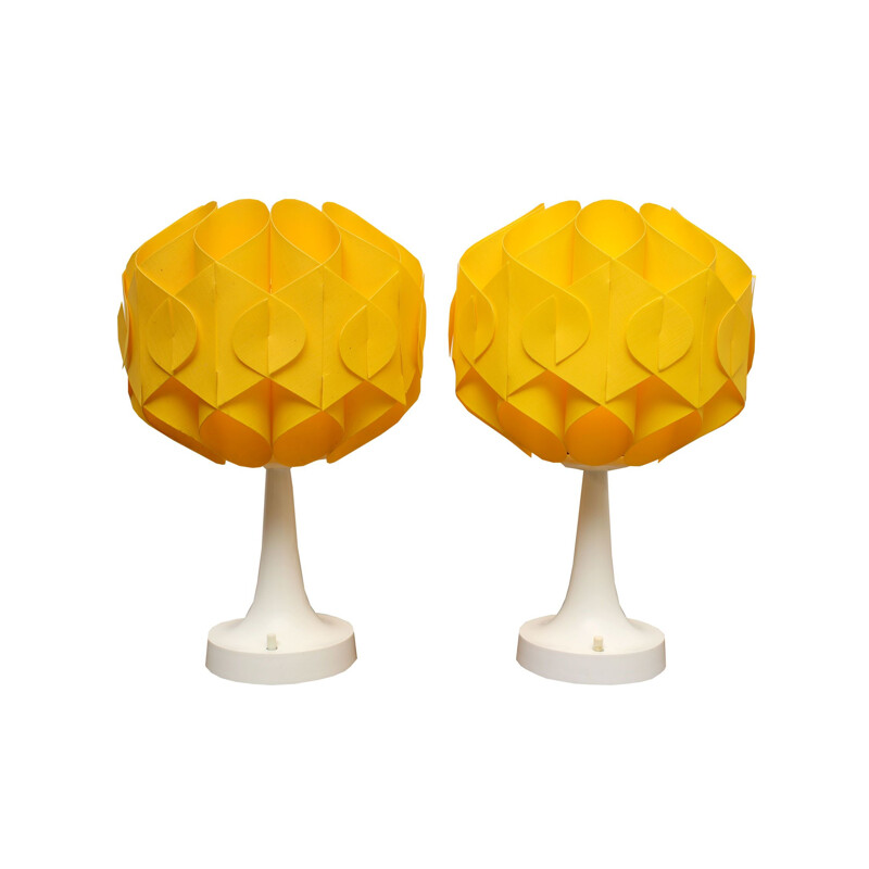 Set of 2 Tulip Table-Lamps in yellow, 1970s