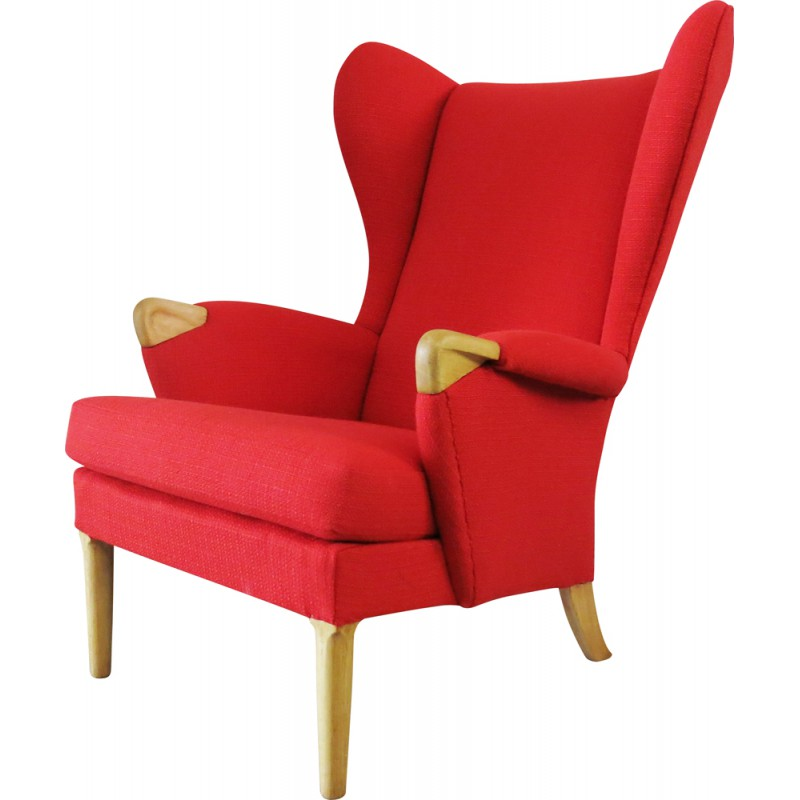 Parker Knoll Wingback Red Armchair In Oak And Fabric 1960s