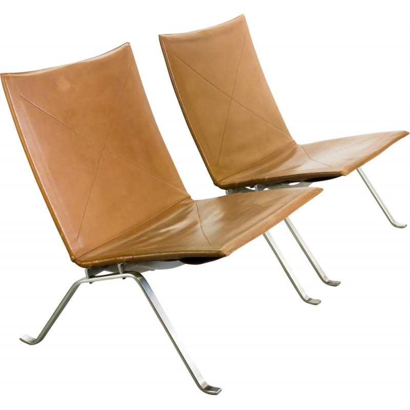 Beau Pair Of PK22 Lounge Chairs In Steel And Leather, Poul KJAERHOLM   1950s