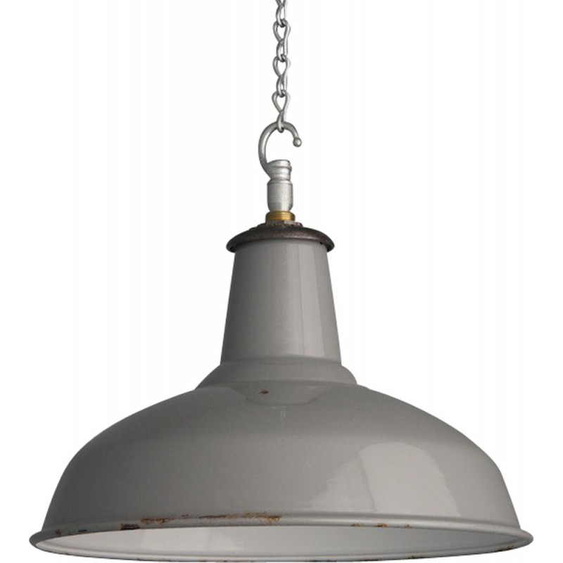 British grey aluminum hanging lamp - 1950s