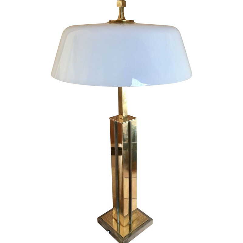 Vintage Brass lamp in white opaline 1970