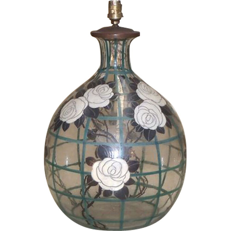 Vintage Blown glass vase decorated with stylized roses, 1930