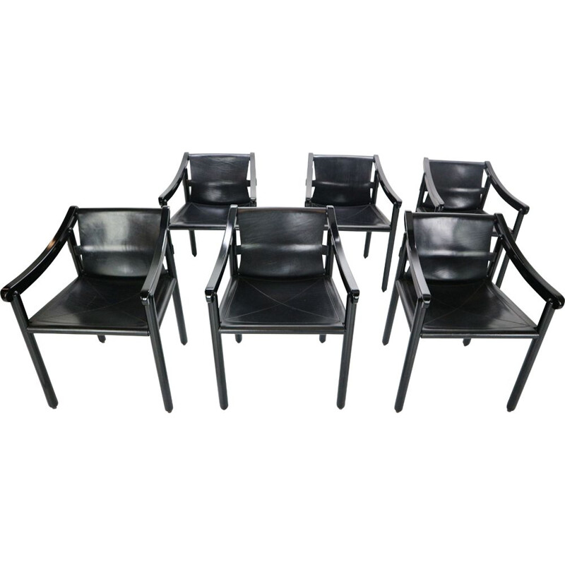 Set of six dining room chairs by Vico Magistretti in 1964, Italy