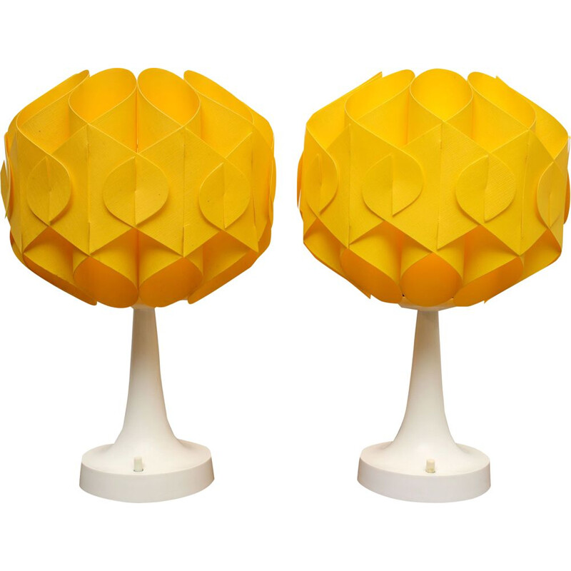 Pair of vintage yellow Tulip table lamps, 1970