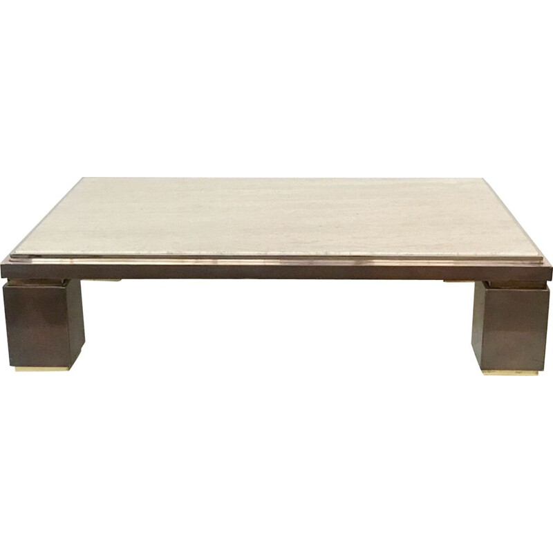 Vintage Coffee Table in Copper, Brass and Travertine by Belgo Chrome 1980