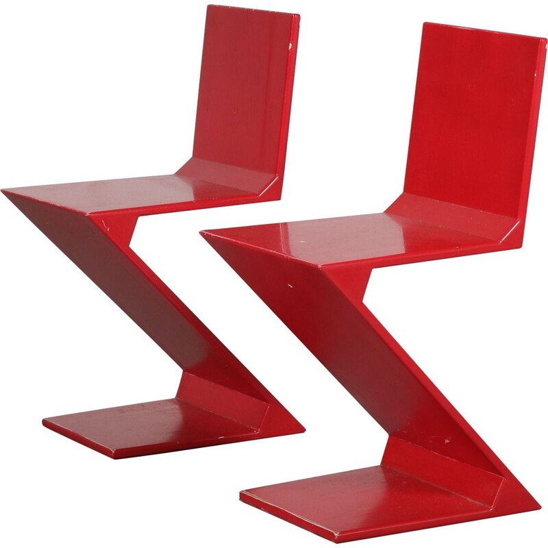 Pair of vintage Zigzag chairs by Gerrit Rietveld Netherlands 1970