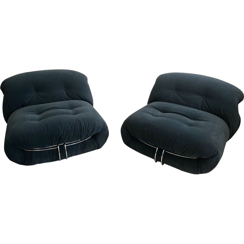 Pair of vintage Soriana armchairs by Tobia and Afra Scarpa, Cassina Edition, 1970
