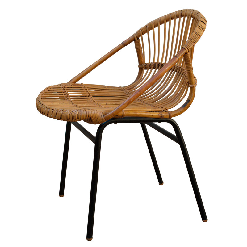 Vintage rattan nesting chair by Alan Fuchs Prague