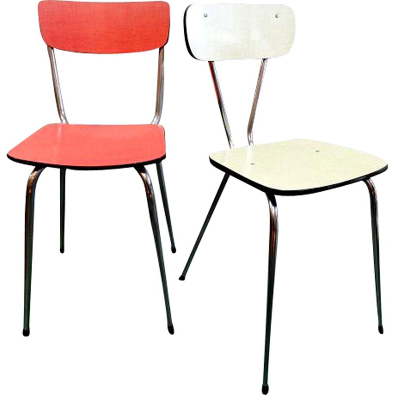 Pair of Vintage chairs in Formica Multicolor