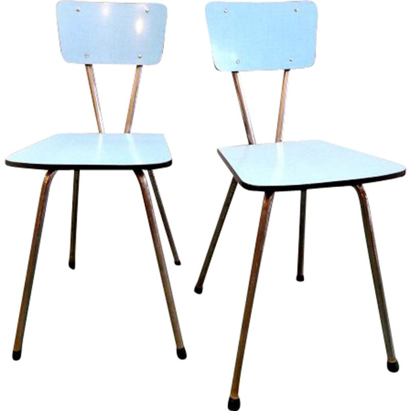 Pair of blue vintage formica chairs