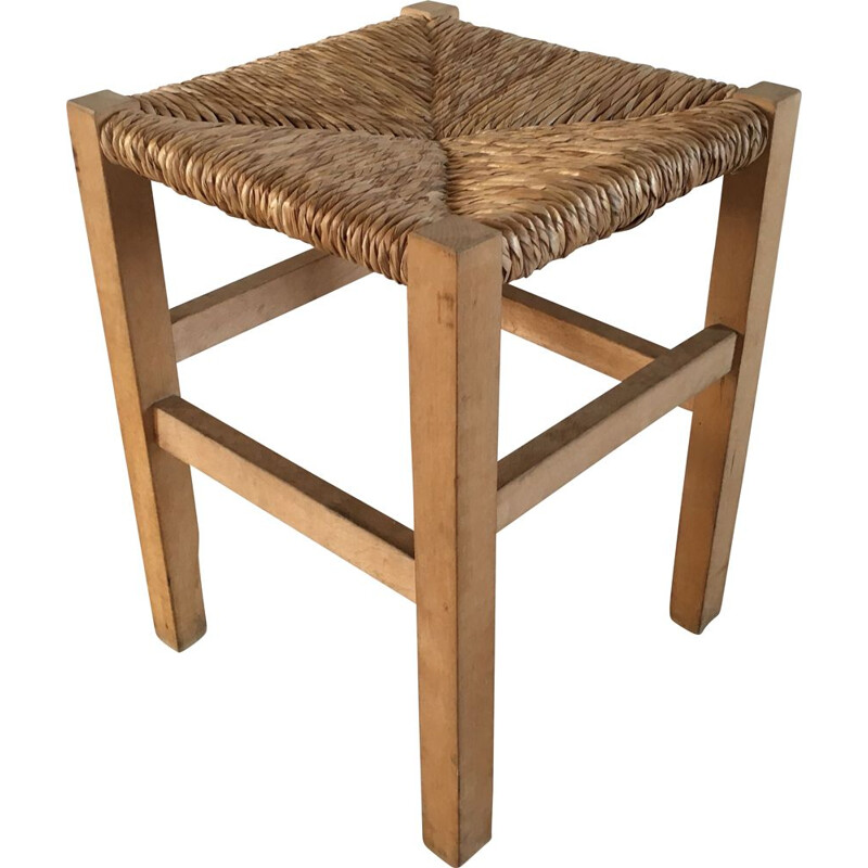 Vintage Geometric Stool in straw and Solid Beech