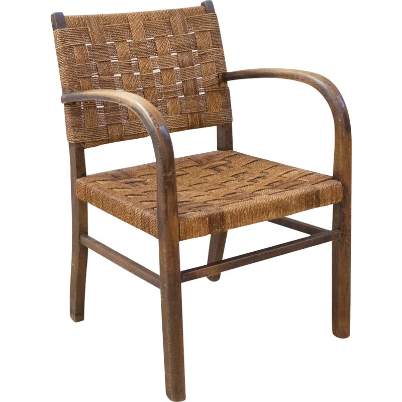 Wooden and rope bridge chair, 1960s