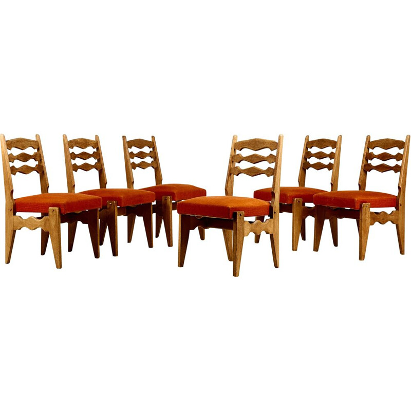 Suite of 6 vintage chairs model Dumortier by Robert Guillerme
