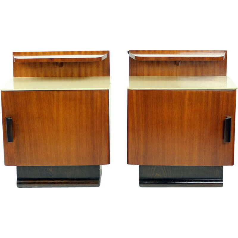 Vintage pair of Bedside Tables By Jindrich Halabala, Up Zavody, Czechoslovakia 1930s