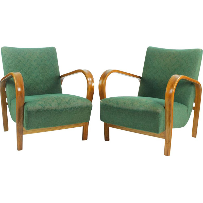 Set of 2 vintage armchairs in Geen fabric and oak from Kropacek and Kozelka, Czechoslovakia 1940