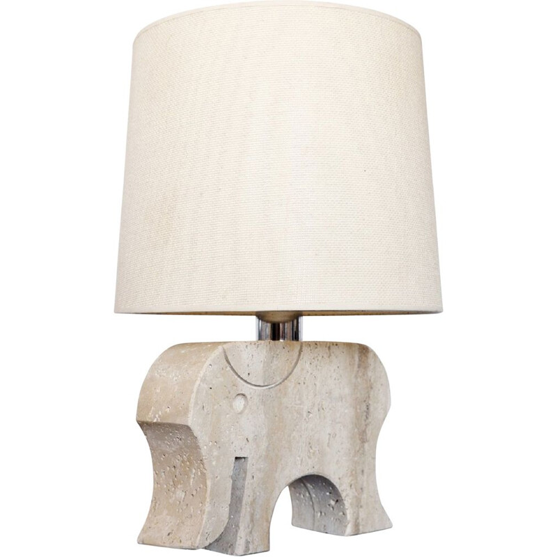 Vintage table lamp elephant by Fratelli Mannelli in travertine Italy 1970