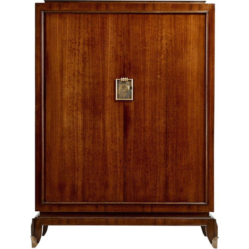 Vintage cabinet in rosewood and gilded bronze Jean Pascaud 1940