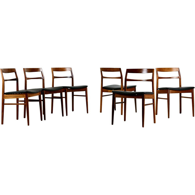 Suite of 6 rosewood chairs, Henning Kjaernulf for Vejle Stolefabrik. Denmark, C 1960