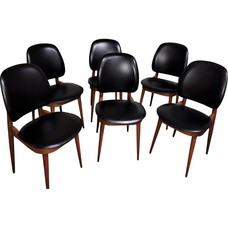 Set of 6 vintage dining room chairs Black leatherette seats and backrests
