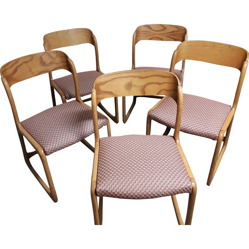 Set of 5 vintage dining room chairs Solid blond wood structure 1960
