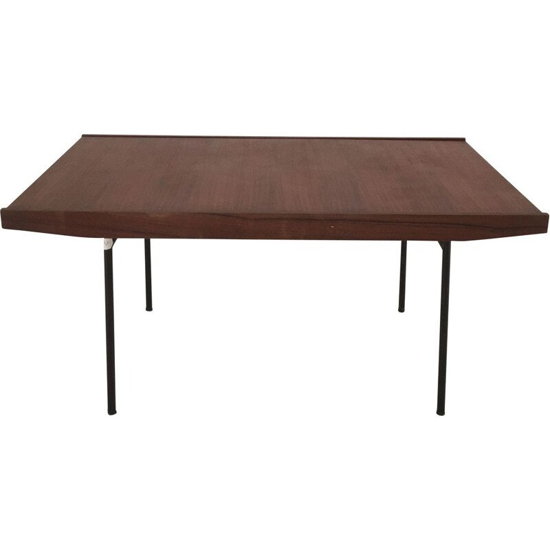 Alain Richard table Wooden top, black metal base