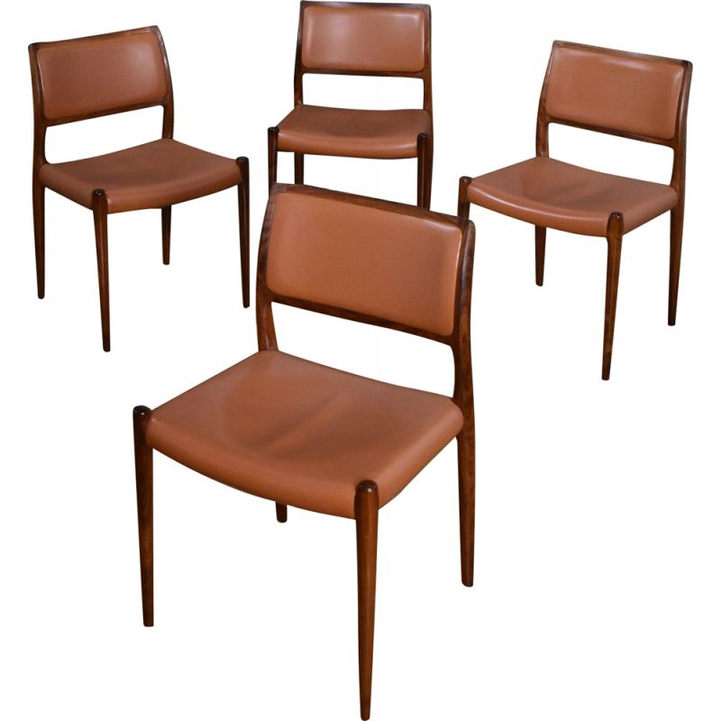 Set Of 4 Niels Moller Model 80 Rosewood and Leather Chairs