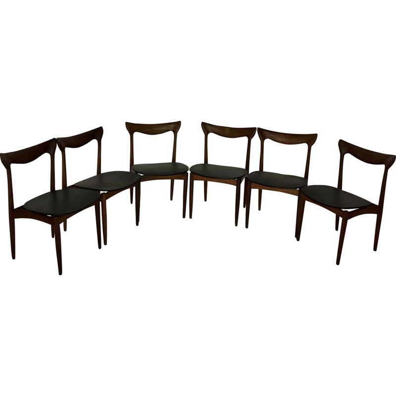 Suite of 6 vintage chairs in teak and black leatherette Henry Walter Klein