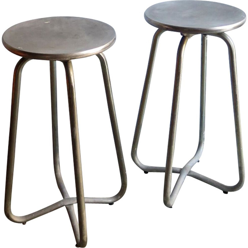 Pair of vintage high metal stools