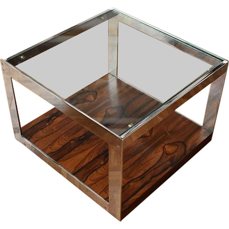 Merrow Associates Rosewood , Chrome & Glass Side Table