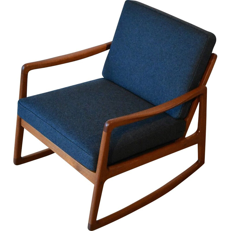 Teak Rocking Chair For France and Son, Ole Wanscher Model 120 Denmark
