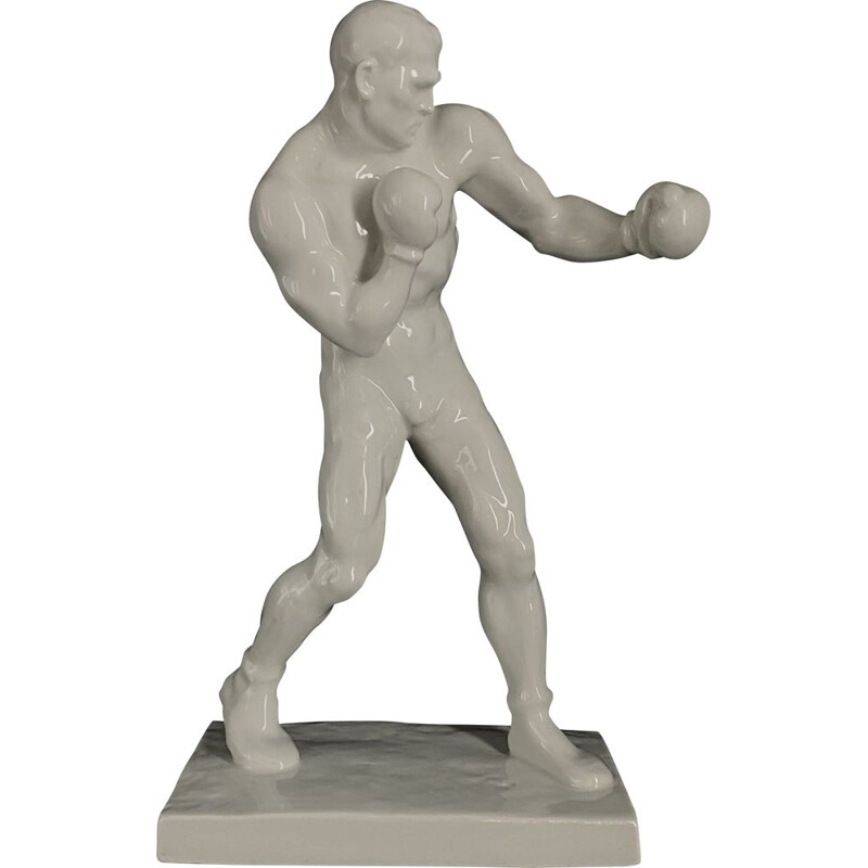 Porcelain Art Deco figurine of a boxer Art Deco Series Olympic Sport Signed and Numbered 1936