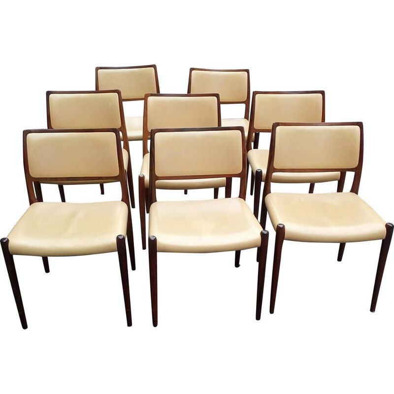 Set of 8 chairs model 80 in rosewood by Niels Otto Moller