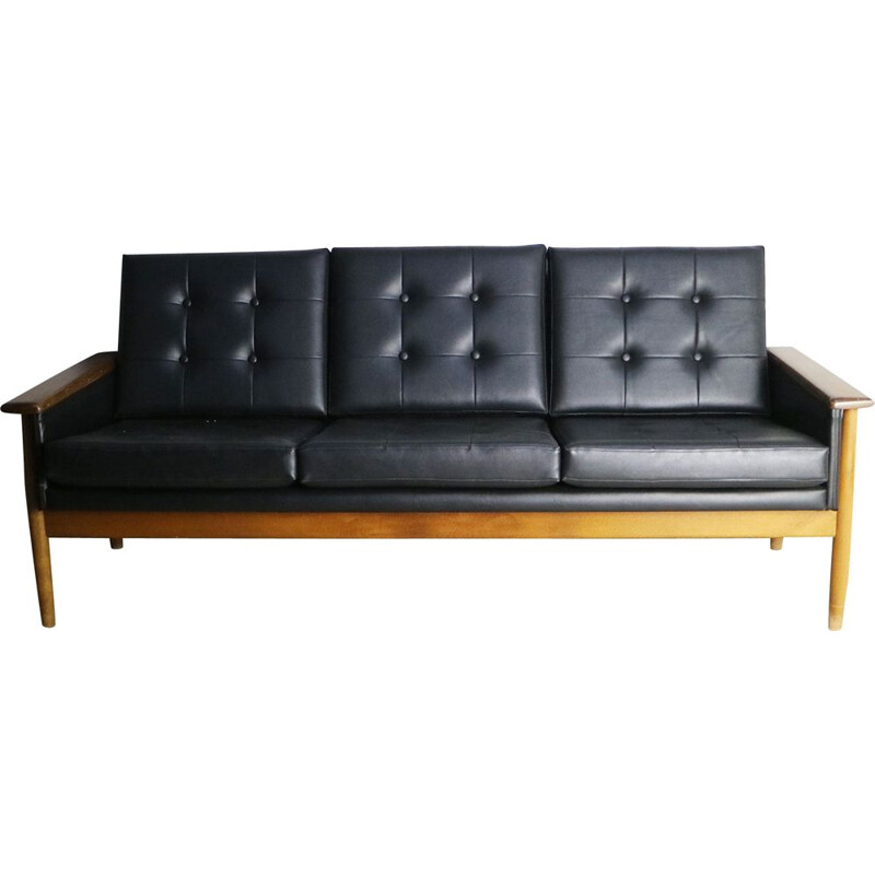 Danish 3 seat black leatherette sofa 1960
