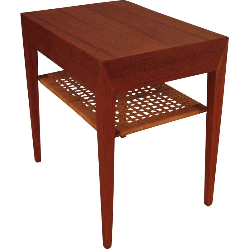 Nightstand Teak and Rattan Bedside Table Severin Hansen Jr