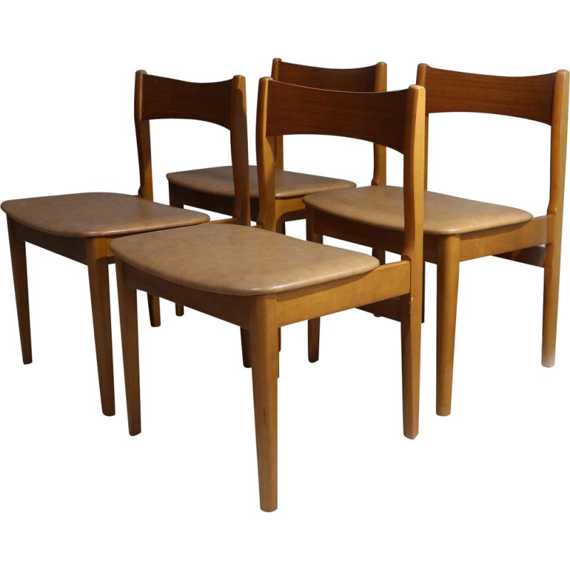 Set of 6  English mid century leatherette dining chairs 1970's
