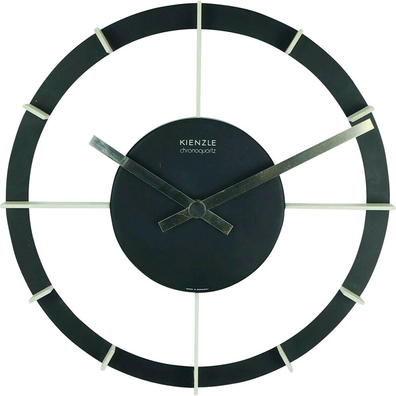 Wall Clock Mid century kienzle chronoquartz black and white metal 1970