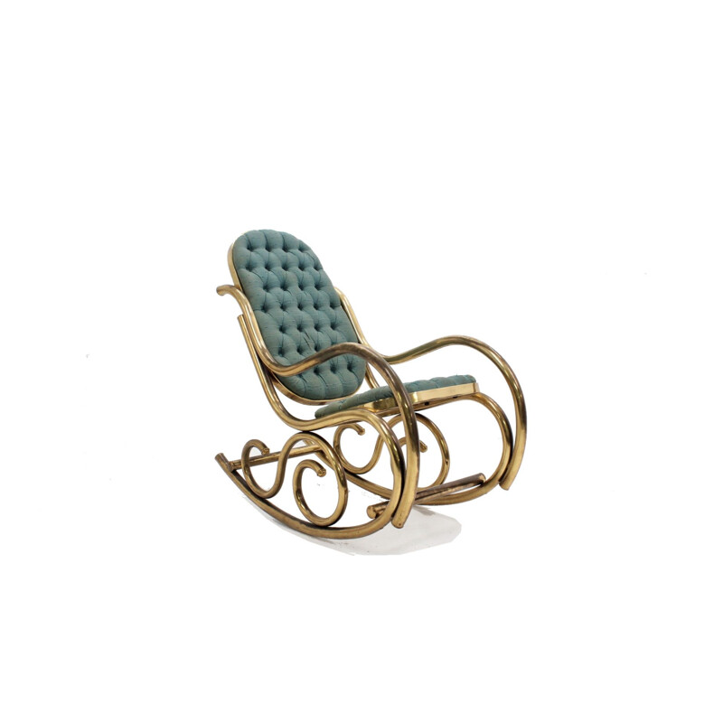 Vintage satin upholstered brass Rocking Chair by Thonet, 1940