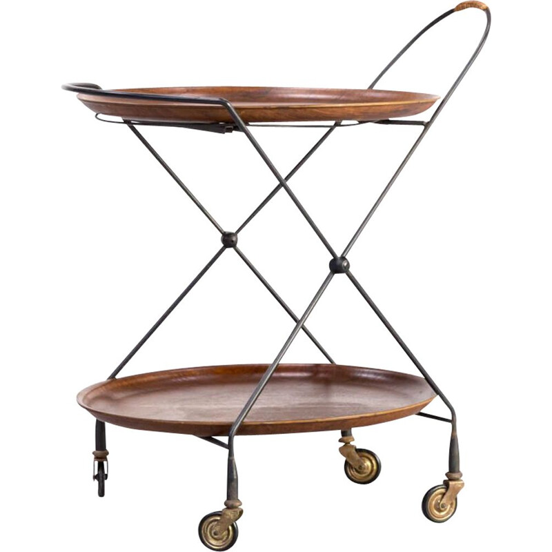 Metal foldable serving trolley  tray table by Ary Fanérprodukter Nybro 1950