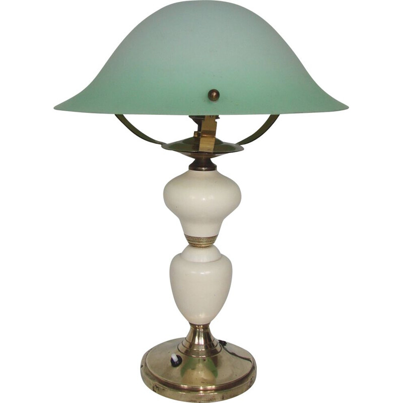 Table lamp vintage, brass, metal and glass 1940