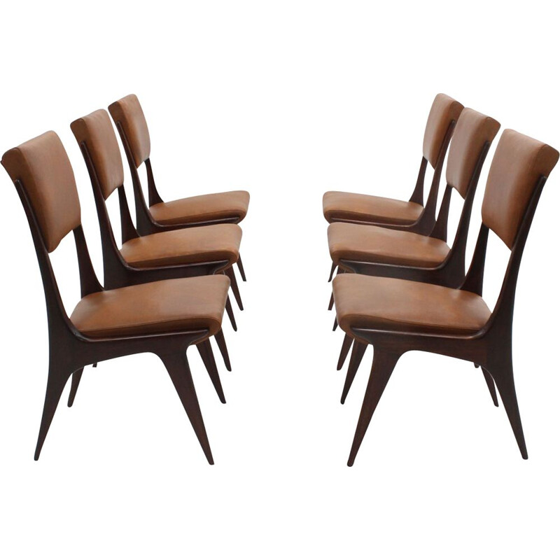 Set of 6 Italian Mahogany Dining Chairs by Carlo de Carli, 1950s