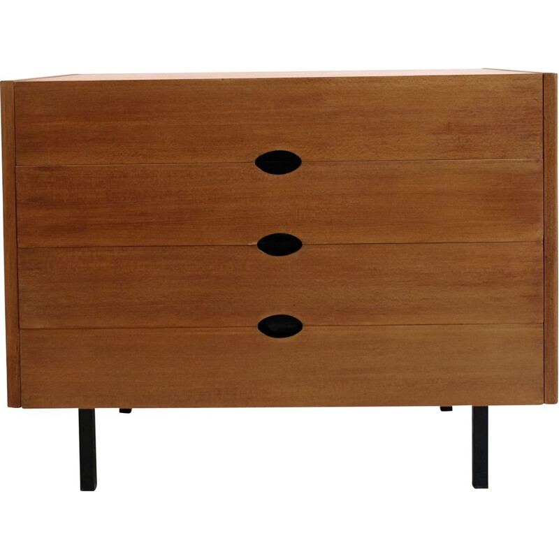 Vintage veneer chest of drawers by Joseph André Motte, 1960
